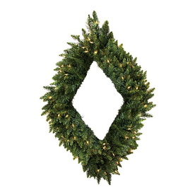 Christmas Central Diamond Shaped Pre-Lit Plug-In Camden Fir Artificial Christmas Wreath with Warm White LED Lights 12768718