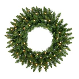 Christmas Central 60-in Pre-Lit Plug-In Camden Fir Artificial Christmas Wreath with White Clear Incandescent Lights 12768725