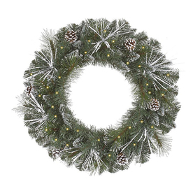 Christmas Central 36-in Pre-Lit Plug-In Pine Artificial Christmas Wreath with White Clear Incandescent Lights 12768794