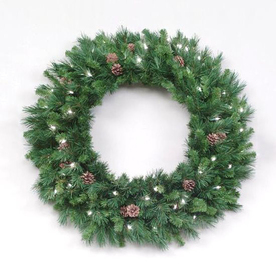 Christmas Central 30-in Pre-Lit Indoor/Outdoor Plug-In Pine Artificial Christmas Wreath with White Clear Incandescent Lights 12768819