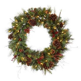 Christmas Central Cibola Mix Berry 30-in Pre-Lit Plug-In Pine Artificial Christmas Wreath with Warm White LED Lights 12768872