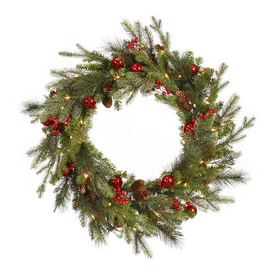 Christmas Central Red Berry and Ball Ornament 24-in Pre-Lit Plug-In Pine Artificial Christmas Wreath with White Clear Incandescent Lights 12768881