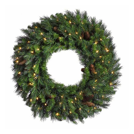 Christmas Central 48-in Pre-Lit Plug-In Pine Artificial Christmas Wreath with White Clear Incandescent Lights 12769070