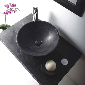 Mtd Vanities Rome Blue Stone Vessel Round Bathroom Sink W...