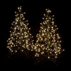 Crab Pot Trees Set of Two 3-ft Pre-Lit Artificial Christmas Trees with Clear White Incandescent Lights FFT-2PK-G3C