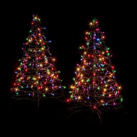 Crab Pot Trees Set of Two 3-ft Pre-Lit Artificial Christmas Trees with Multicolor Incandescent Lights FFT-2PK-G3M