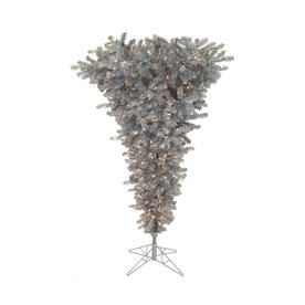 Vickerman 5.5-ft Pre-Lit Whimsical Upside-Down Artificial Christmas Tree with Clear White Incandescent Lights A107656