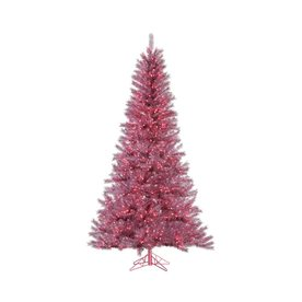 Vickerman 7.5-ft Pre-Lit Tinsel Artificial Christmas Tree with Pink Incandescent Lights A147076
