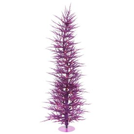 Vickerman 3-ft Pre-Lit Whimsical Slim Artificial Christmas Tree with Purple Incandescent Lights B161631