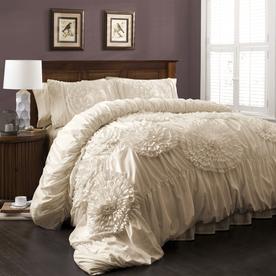 Lush Decor Serena 3-Piece Ivory Queen Comforter Set C12369P13-000