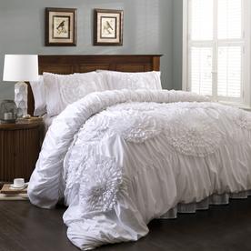 Lush Decor Serena 3-Piece White Queen Comforter Set C12390P13-000
