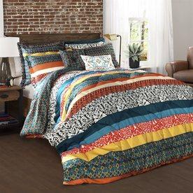 Lush Decor Boho Stripe 7-Piece Turquoise-Tangerine Full/Queen Comforter Set C28995P14-000