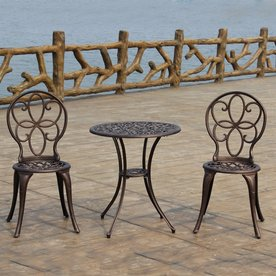 Display Product Reviews For 3 Piece Bronze Metal Frame Bistro Patio Dining  Set