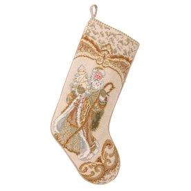 Peking Handicraft 11-In Off-White Santa Christmas Stockin...