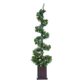 Northlight 5-Ft Pre-Lit Spiral Topiary Slim Artificial Ch...