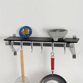 Concept Housewares 30-In X 8-In Black Rectangle Pot Rack ...