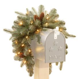 """3 Foot """"Feel Real"""" Frosted Artic Spruce Mailbox Swag with Cones and 35 Battery Operated Warm White LED Lights () - National Tree PEFA1-307-3M-B1"""