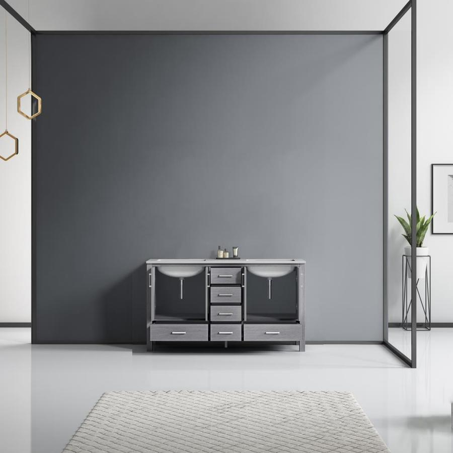 Lexora Jacques 60 In Distressed Grey Undermount Double Sink Bathroom Vanity With White Carrera Marble Top In The Bathroom Vanities With Tops Department At Lowes Com