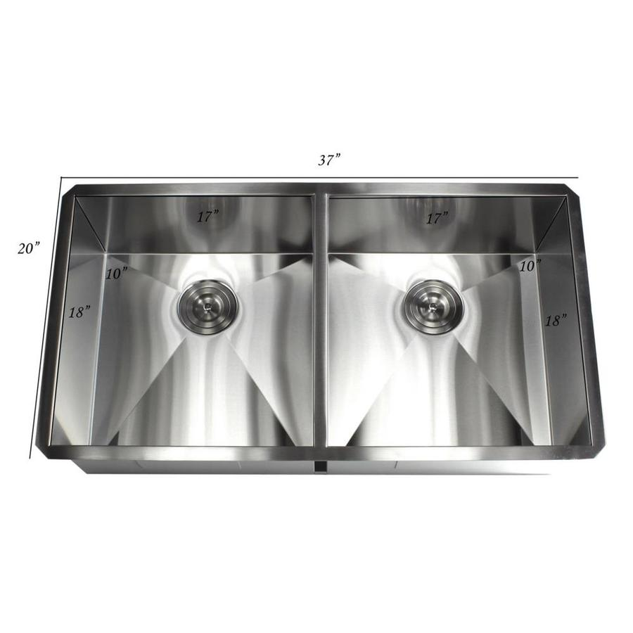 Kingsman Hardware Handcrafted Zero Radius 37 In X 20 Stainless Steel Brushed Nickel Double Equal Bowl Drop Or Undermount Residential Kitchen Sink The Sinks Department At Lowes