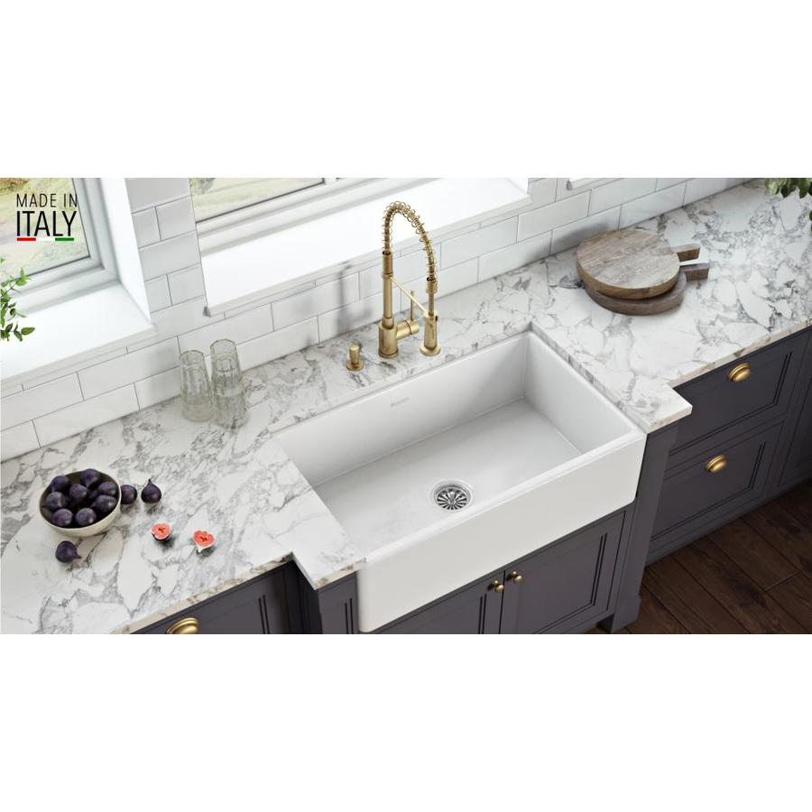 Ruvati Fiamma Farmhouse Apron Front 33 In X 20 In White Single Bowl Kitchen Sink In The Kitchen Sinks Department At Lowes Com