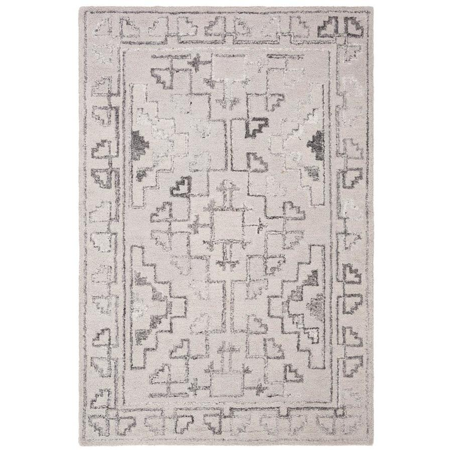 Safaviehsafavieh Abstract Cara 4 X 6 Blue Black Indoor Geometric Bohemian Eclectic Handcrafted Area Rug In Gray Abt619m 4 Dailymail