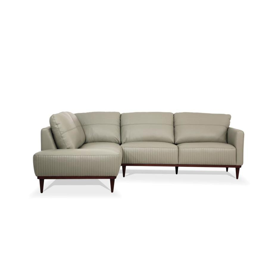 - ACME Furniture Tampa Modern Airy Green Leather Sectional In The