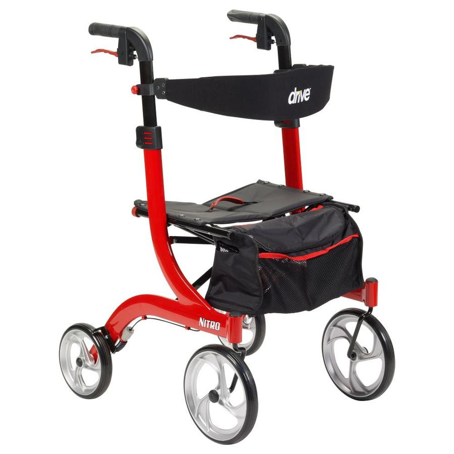 Drive Medical Nitro Euro Style Rollator Rolling Walker, Red Rtl10266