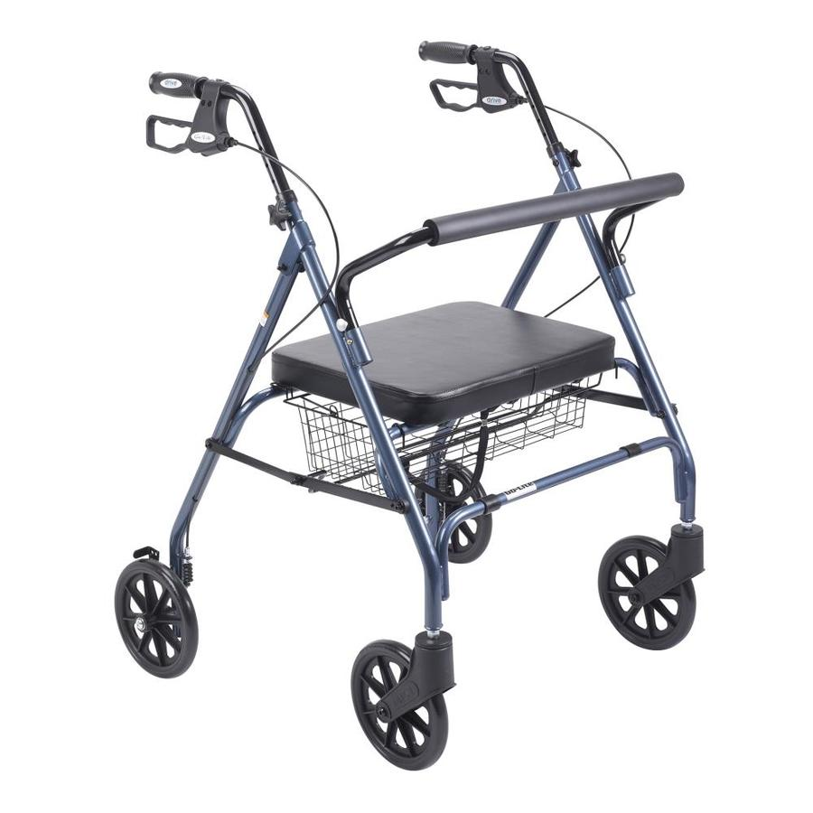 Drive Medical Heavy Duty Bariatric Rollator Rolling Walker With Large Padded Seat, Blue 10215Bl-1