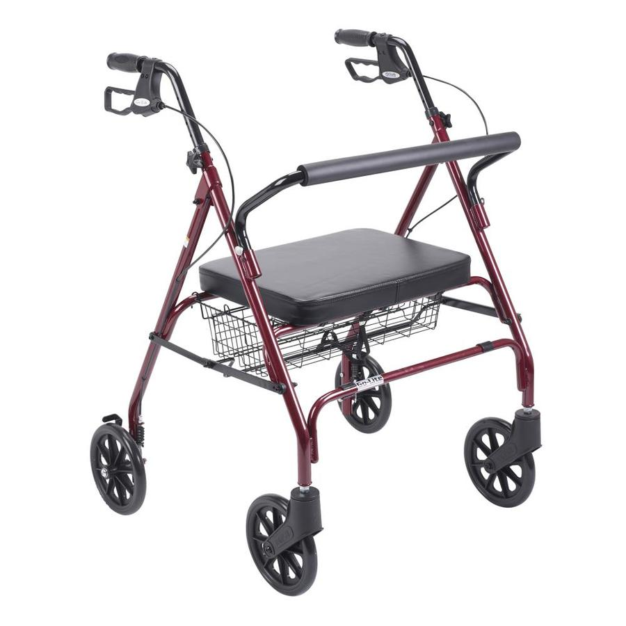 Drive Medical Heavy Duty Bariatric Rollator Rolling Walker With Large Padded Seat, Red 10215Rd-1
