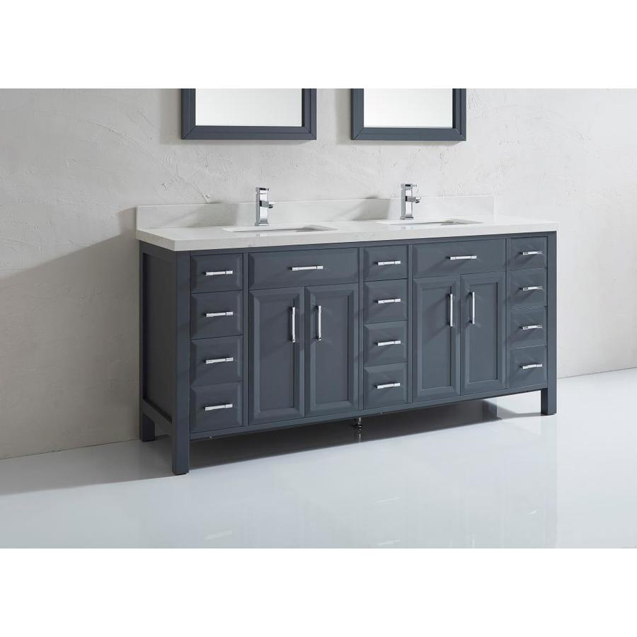 Spa Bathe Calumet 75 In Pepper Gray Undermount Double Sink Bathroom Vanity With White With Grey Veins Engineered Stone Top In The Bathroom Vanities With Tops Department At Lowes Com