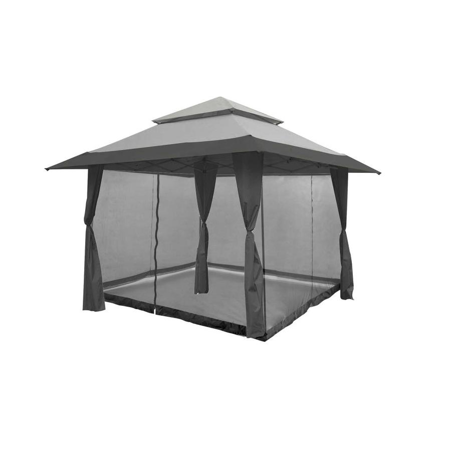 13 X 13 Foot Instant Gazebo Canopy Outdoor Shelter With Bug Screen, Gray - Z-Shade 96636