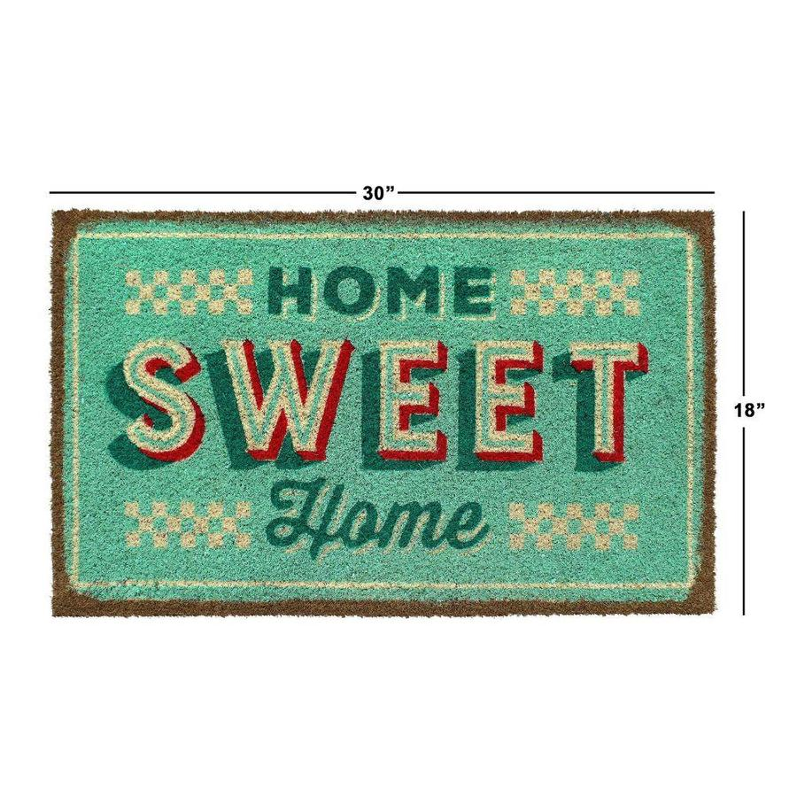 Zig Zag Retro Home Sweet Home Coir Doormat 1 1 2 X 2 1 2 Bleach Indoor Outdoor Area Rug In The Rugs Department At Lowes Com