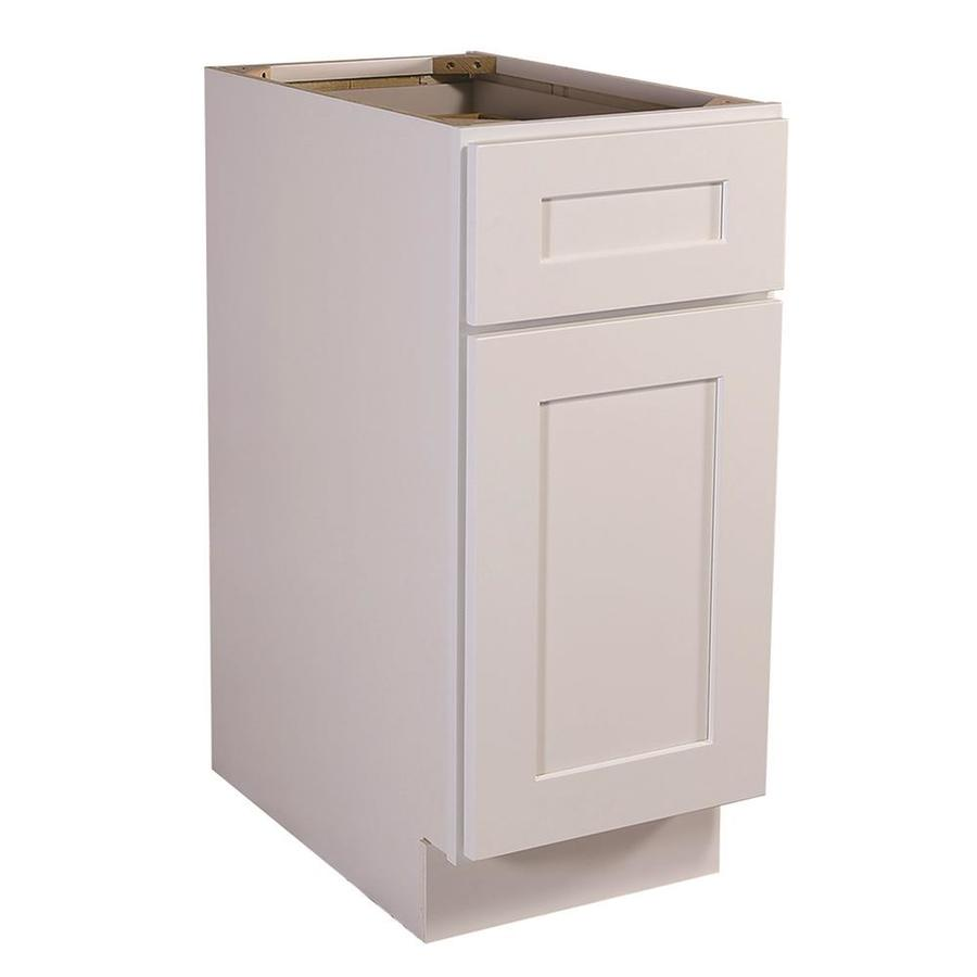 Design House 15 In W X 34 5 In H X 24 In D White Maple Door And Drawer Base Semi Custom Cabinet In The Semi Custom Kitchen Cabinets Department At Lowes Com
