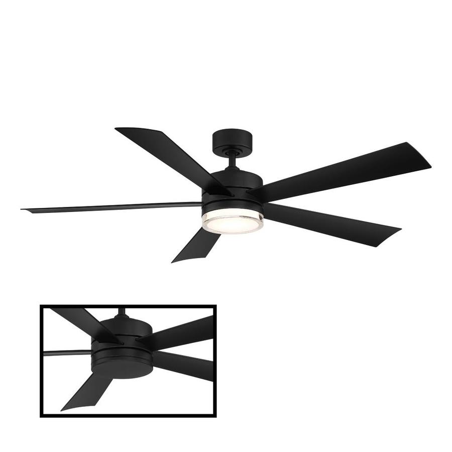 Modern Forms Wynd Matte Black 52 In Led Indoor Outdoor Smart Ceiling Fan 5 Blade In The Ceiling Fans Department At Lowes Com