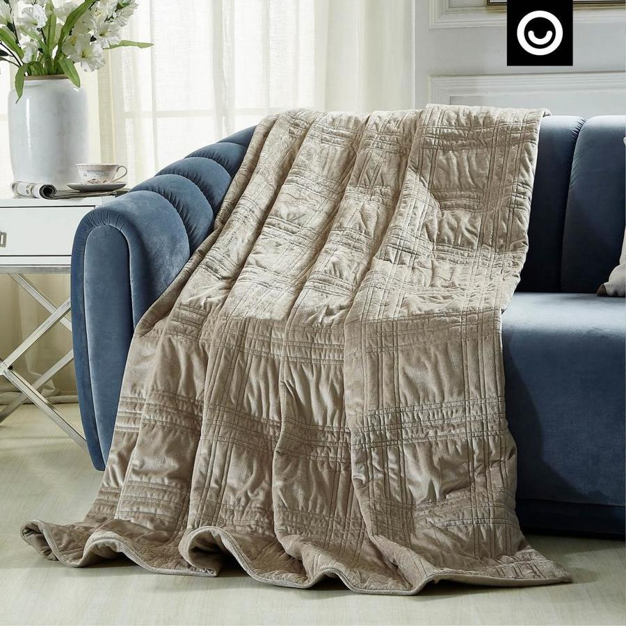 Cozy Tyme Ekon Taupe 60 In X 80 In Cotton Weighted Blanket In The Blankets Throws Department At Lowes Com