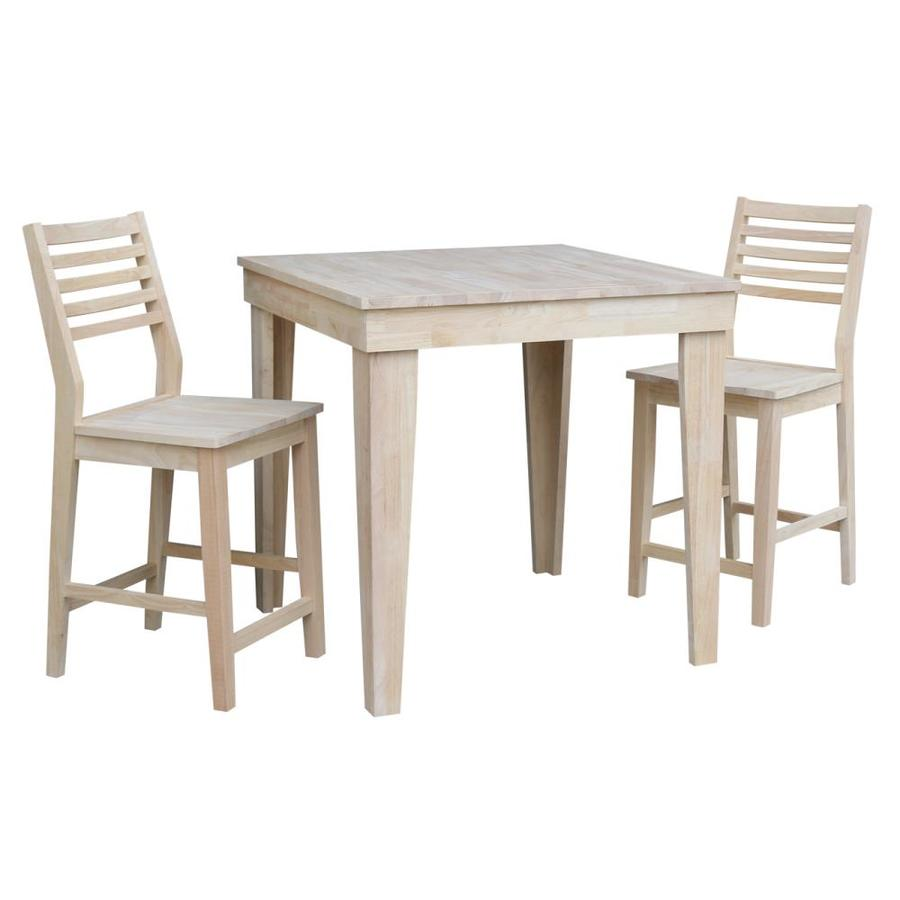 Aspen Natural Dining Room Set with Square Table in Off-White | - International Concepts K-13636-S42-2