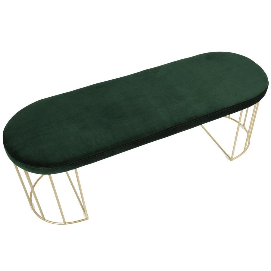 Lumisource Canary Eclectic Gold Frame Green Velvet Accent Bench In The Indoor Benches Department At Lowes Com