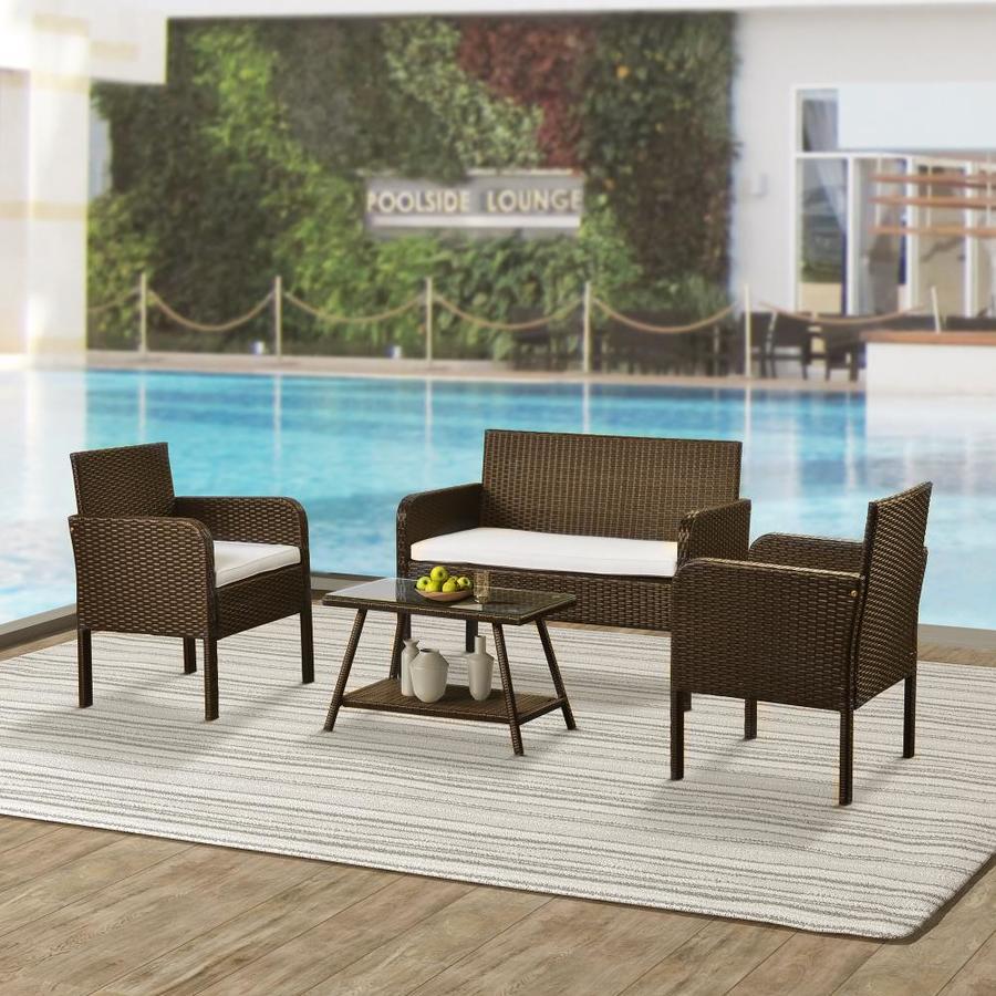 Casainccasainc Outdoor Sofa 4 Piece Wood Frame Patio Conversation Set With Cushions Bh Wf190610aaa Dailymail