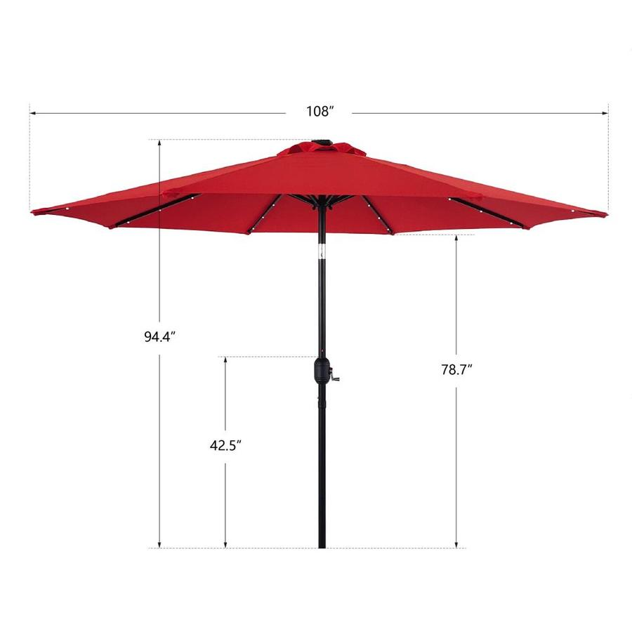 Casainc 9 Ft Red Solar Powered Push Button Tilt Market Patio Umbrella In The Patio Umbrellas Department At Lowes Com
