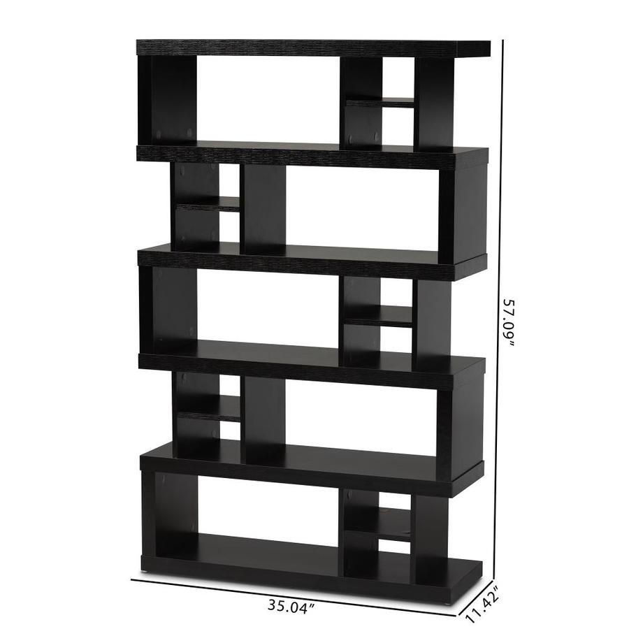 Baxton Studio Dora Dark Brown Wood 15 Shelf Bookcase In The Bookcases Department At Lowes Com