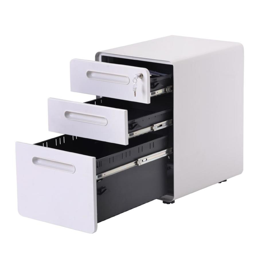 Casainc 3 Drawer Mobile Vertical Filing Cabinet In White In The File Cabinets Department At Lowes Com