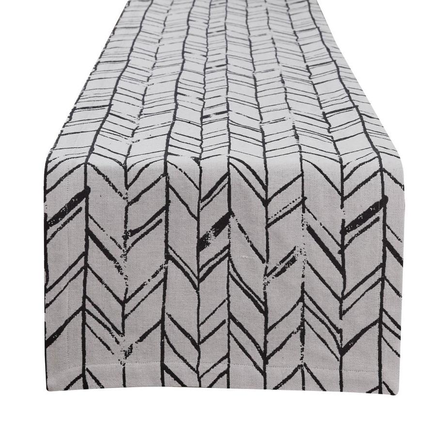 Home Table Runners DII Black Striped Fringed Table Runner 14x72 ...
