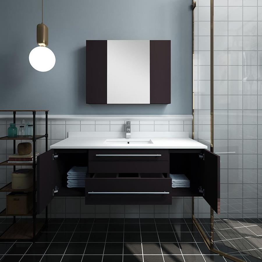 Fresca Stella 48 In Espresso Undermount Single Sink Bathroom Vanity With White Quartz Top Faucet Included In The Bathroom Vanities With Tops Department At Lowes Com