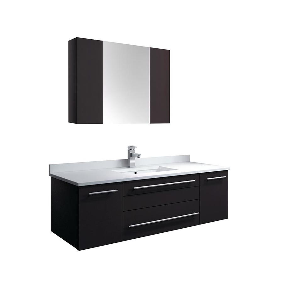 Fresca Lucera 48 In Espresso Undermount Single Sink Bathroom Vanity With White Quartz Top