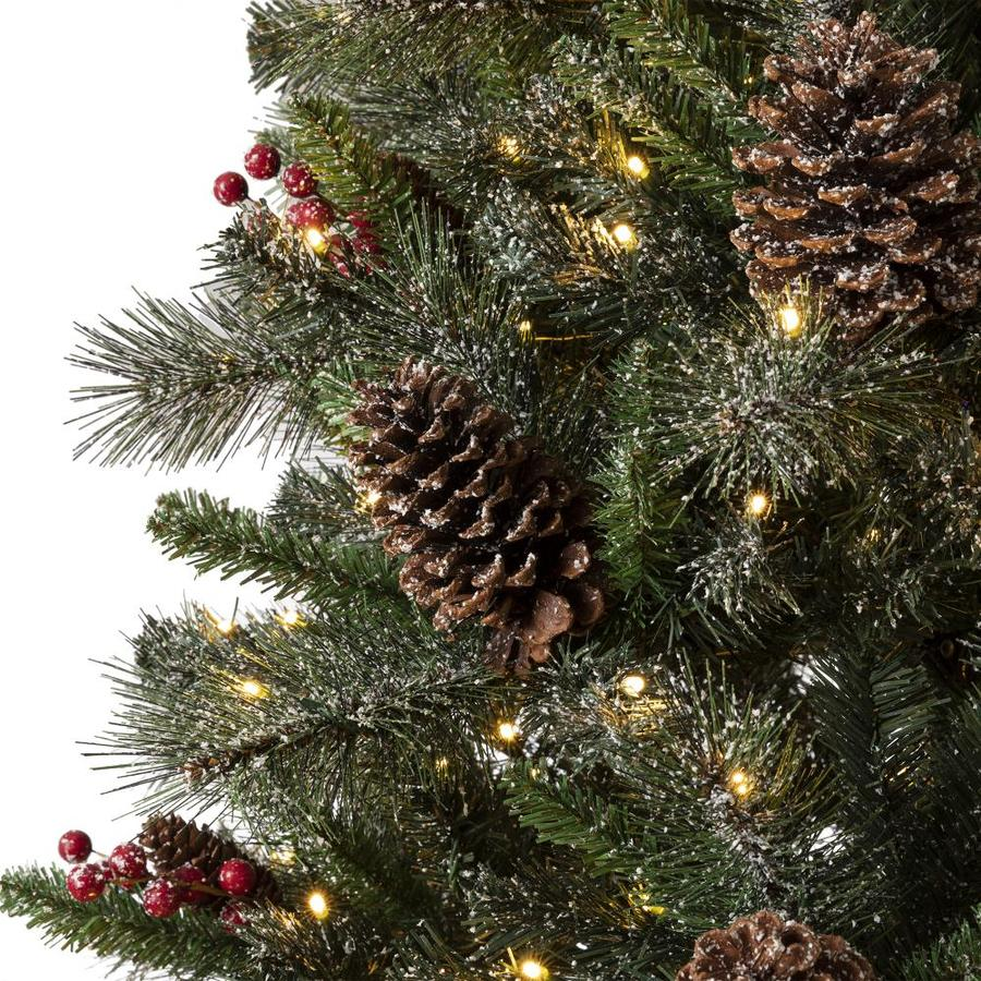 Glitzhome 4 Ft Pre Lit Potted Artificial Christmas Tree With 100 Constant Warm White Led Lights In The Artificial Christmas Trees Department At Lowes Com