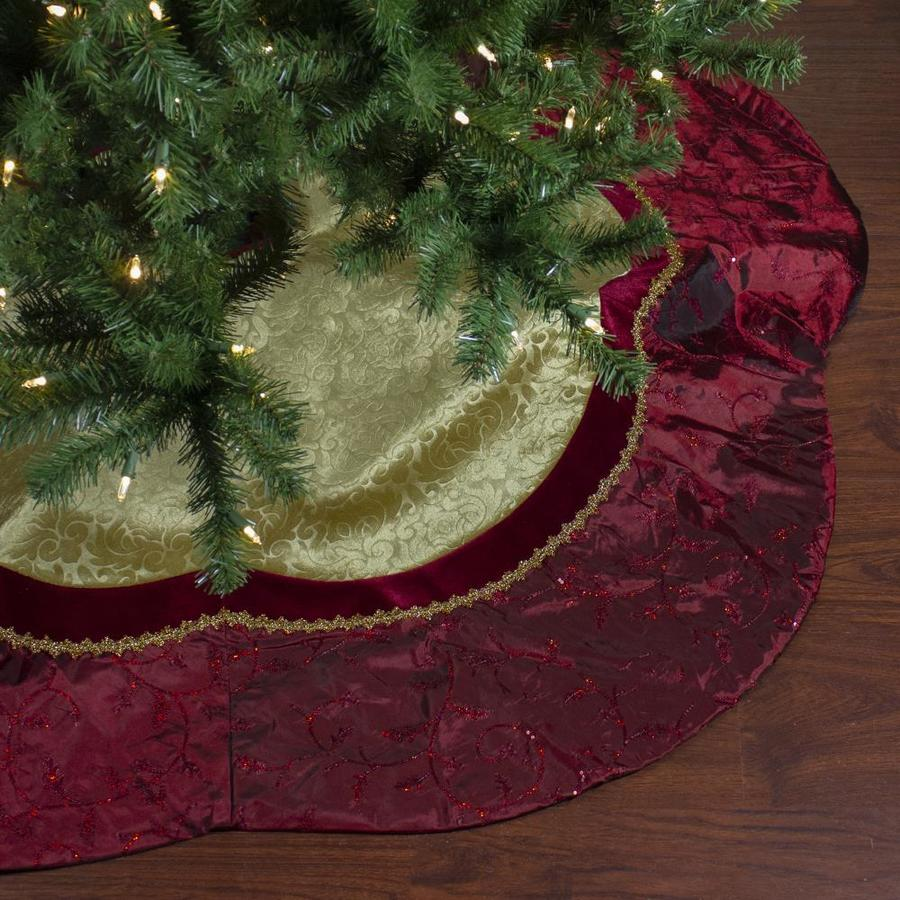 Northlight 60 In Red And Gold Scalloped Sequined Christmas Tree Skirt In The Christmas Tree Skirts Collars Department At Lowes Com