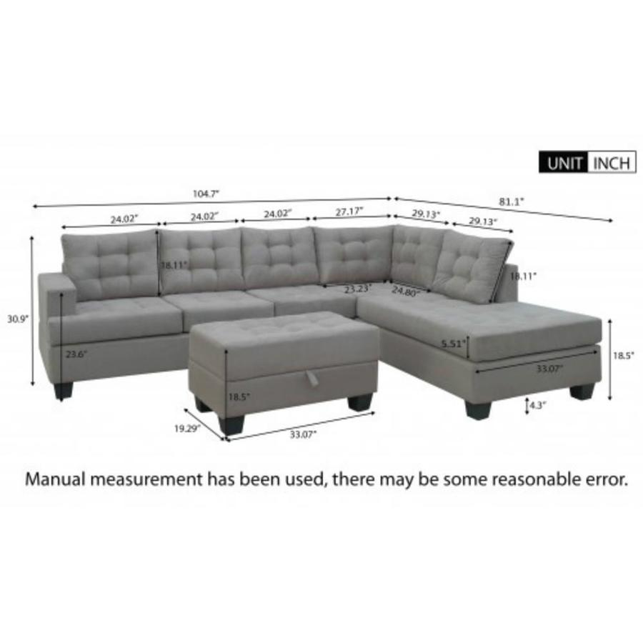 Casainc Gray Sofa 3 Piece Sectional Sofa With Chaise Lounge And Storage Ottoman L Shape Couch Living Room Furniture In The Living Room Sets Department At Lowes Com