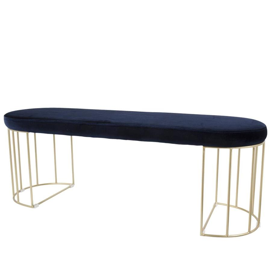 Lumisource Canary Eclectic Gold Frame Blue Velvet Accent Bench In The Indoor Benches Department At Lowes Com
