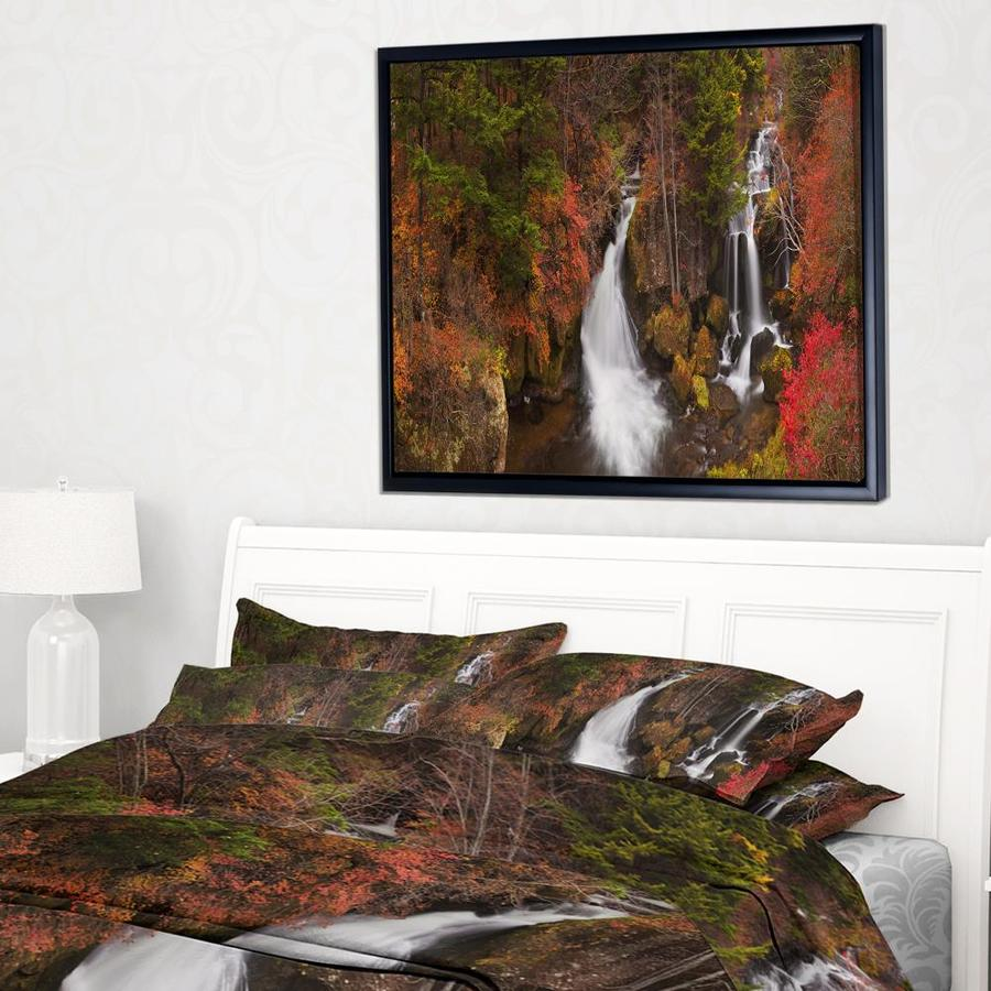 Designart Ryuzu Falls Near Nikko Japan Landscape Framed Canvas Art Print In The Wall Art Department At Lowes Com