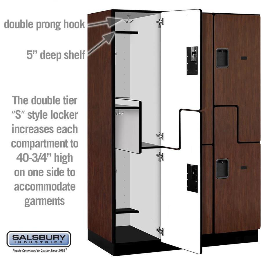 Salsbury Industries 18 In Wide Double Tier S Style Designer Wood Locker 3 Wide 6 Ft High 21 In Deep Mahogany In The Lockers Department At Lowes Com
